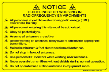 NOTICE guidelines for working in radiofrequency environments