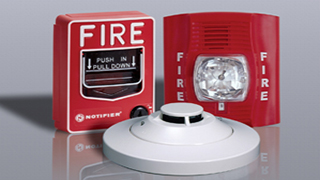 fire alarm pull station, strobe light, and smoke detector