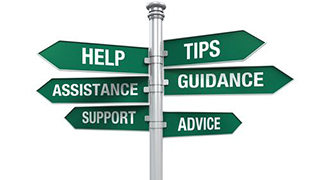 signpost with signs labeled help, tips, assistance, guidance, support, and advice